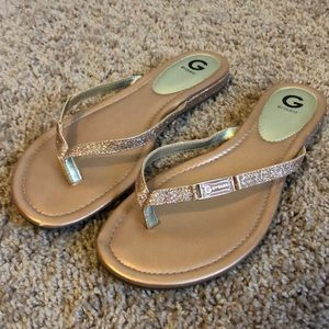 G by Guess sparkly pink flip flops